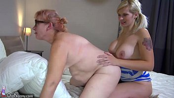 oldnanny two horny lesbian woman naked full body massage is enjoying with strapon