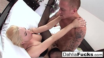 hard ponographic sex on a big bed with dahlia sky and richie black