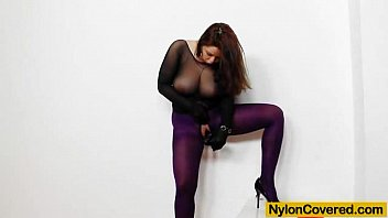 huge titties cutie in sex girl nylon mask and full body nylon suit
