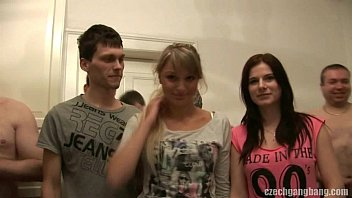 xxx18 girlfriend and her sister get fucked at czech gang bang