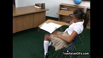 asian schoolgirl fingering pussy in classroom