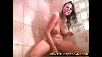hot big boobed babe toying rapesex around with a giant dildo in the bathroom www.privatehotwebcams.com