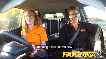 fake driving school nerdy ginger teen fucked to short sex video creampie orgasm