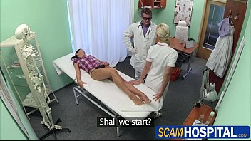 hot adela gets banged in the table by the kristen scott gangbang doctors big cock inside her pussy