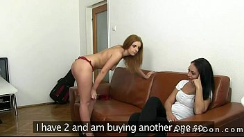 fake agent fucks hot horney woman two hot amateurs on couch