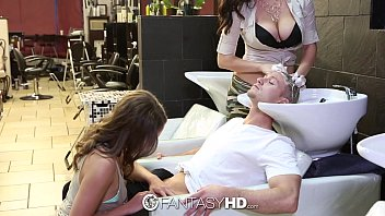 fantasyhd - babes lily breast romance and holly have threesome at beauty salon