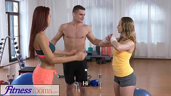 fitness rooms naughty y. gymnast pussy cock hungry threesome with gym hunk