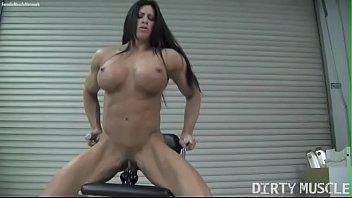 naked female bodybuilder angela youjisz salvagno fucks a dildo
