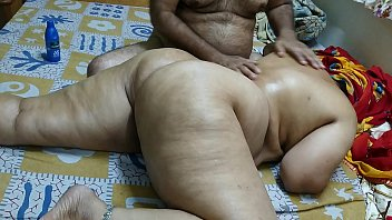 50 year old indian step nxnx mom full body massge by her young 40 year old step son