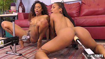 ebony lesbians enjoying oral sex in motherxxx live show before fucked by sex machines