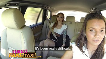female fake taxi horny sex wep com filthy lesbians lick shaved wet pussy in taxi