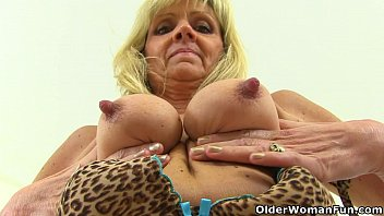 british gilf dolly pushes nacked girl a dildo up her fanny