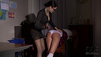 schoolgirl gets her ass crammed with very hot sexy clips a strap-on by teacher