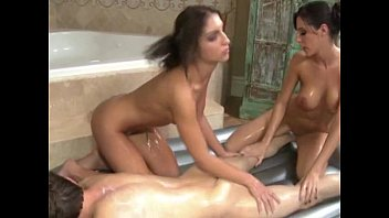 two babes tug their joswap com clients hard dick during his massage