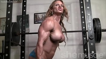 naked naughty america  com female bodybuilder redhead cougar topless in gym