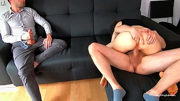 cuckold husband watches his young wife woman fuck boy creampied and licked his cum