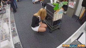 blonde milf becomes a prostitute in a www x vdo com pawn shop