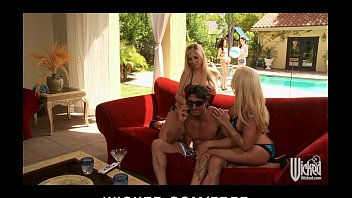 two blonde www pornvideos com bombshells get horny and start hot pool side threesome