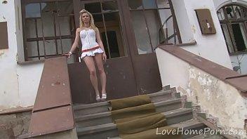 desirable blonde loves her pornno new white dress