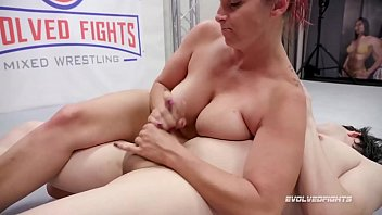 bella rossi mixed sex wrestling gives a handjob open boobs then strapon fucks the loser
