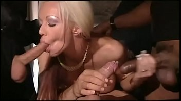 blonde slut gang banged sex boy gril by interracial gang