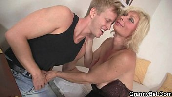 granny blonde rides his xxx89 stiff dick