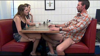 daughter gives footjob xxx 89 and bj to dad under the table