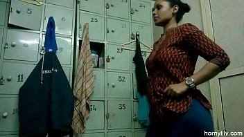 indian girl lily changing dress in hotporn gym changing room