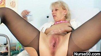 xnxxxxx blond milf in latex uniform extreme dildo insertion