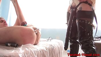 busty femdom turjakan toying her cbt subjects ass