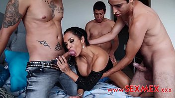 slutty mother gangbanged by 3 strangers in her own bed. sbabes com daughter saw her fucking and got horny.