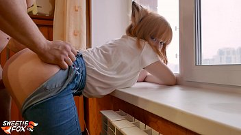 lover force boob suck doggy fuck tight pussy redhead near the window