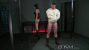 bdsm xxx slave boy xxx game in straight jacket and anal hook swings brick from his balls to please his mistre