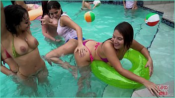 girls gone wild - young latin lesbians have a creampie pool party then eat pussy