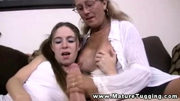 old man fuck mature milf in trio tugging dick for this lucky guy