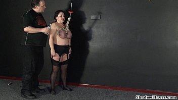 tit chut ki chudai movie h. of mature roped slavegirl andrea in extreme big tit whipping