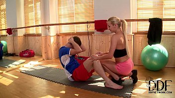 sexy blonde trainer kelly white gets a man fucks woman hardcore cock workout