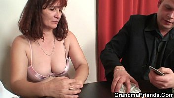 triple sex triple sex granny plays strip poker then gets double dicked