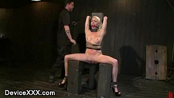 blonde english sexy video clip strapped to a post gets vibed