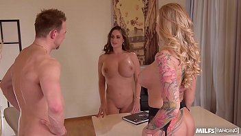 milfs cathy heaven and kayla green get banged 9 taxi balls deep in office threesome