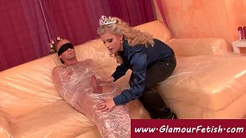 man wrapped in plastic sexy fit women nude gets jerked off