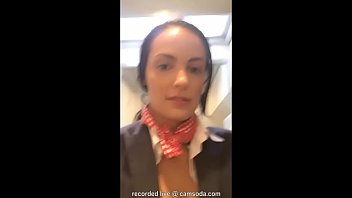 flight attendant uses in-flight wifi girl fuck to girl to cam on camsoda