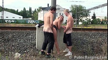 risky public threesome sex with a pretty freesexmovies milf and 2 young guys with big dicks