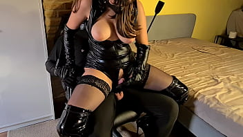 beautiful girl nude tied up and gagged slave painfully denied by cruel leather dominatrix